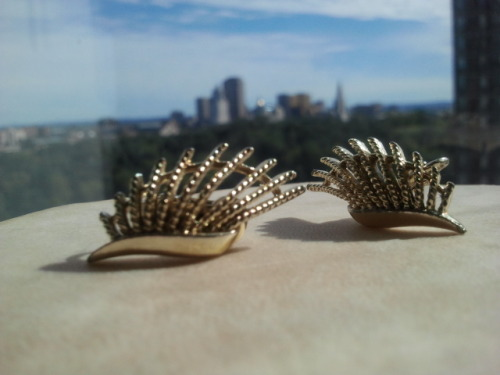 The Katia earrings, $15 Vintage clip-ons from the 90's.   http://www.etsy.com/listing/82848344/the-katia-earrings
