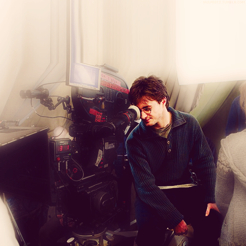 wulfrics:  30 days of Daniel Radcliffe Day 06: A backstage photo of your choice.↳ The Deathly Hallows part 1.
