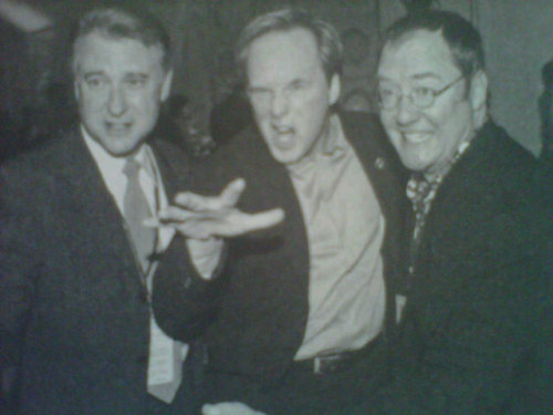 The Incredibles producer John Walker, director Brad Bird, and John Lasseter.