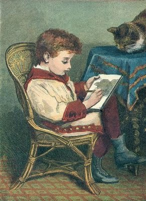 little boy writing with the victorian kitty on the table.