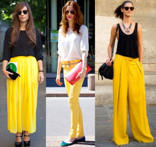 fashioncappuccino:  Lovely yellow streetstyle shots!   It's all about going bold on the bottom. Love the color statement.