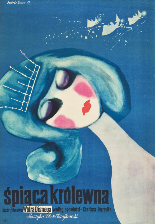 Sleeping Beauty Polish movie poster, art by Hanna Bodnar 1962