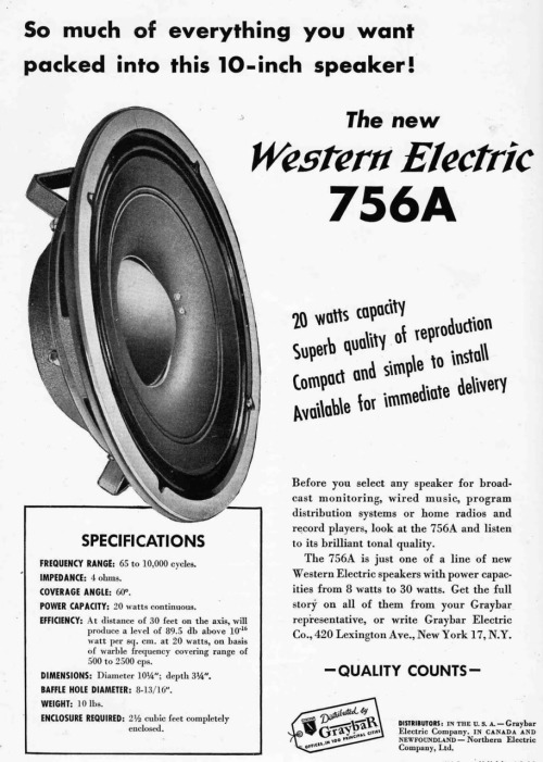 (via retro vintage modern hi-fi: Western Electric 755A 756A Ads)