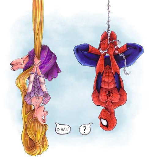 For @dreamyeyed and @bookishbelle, a Marvel/Tangled cross-over by Brianna Garcia.