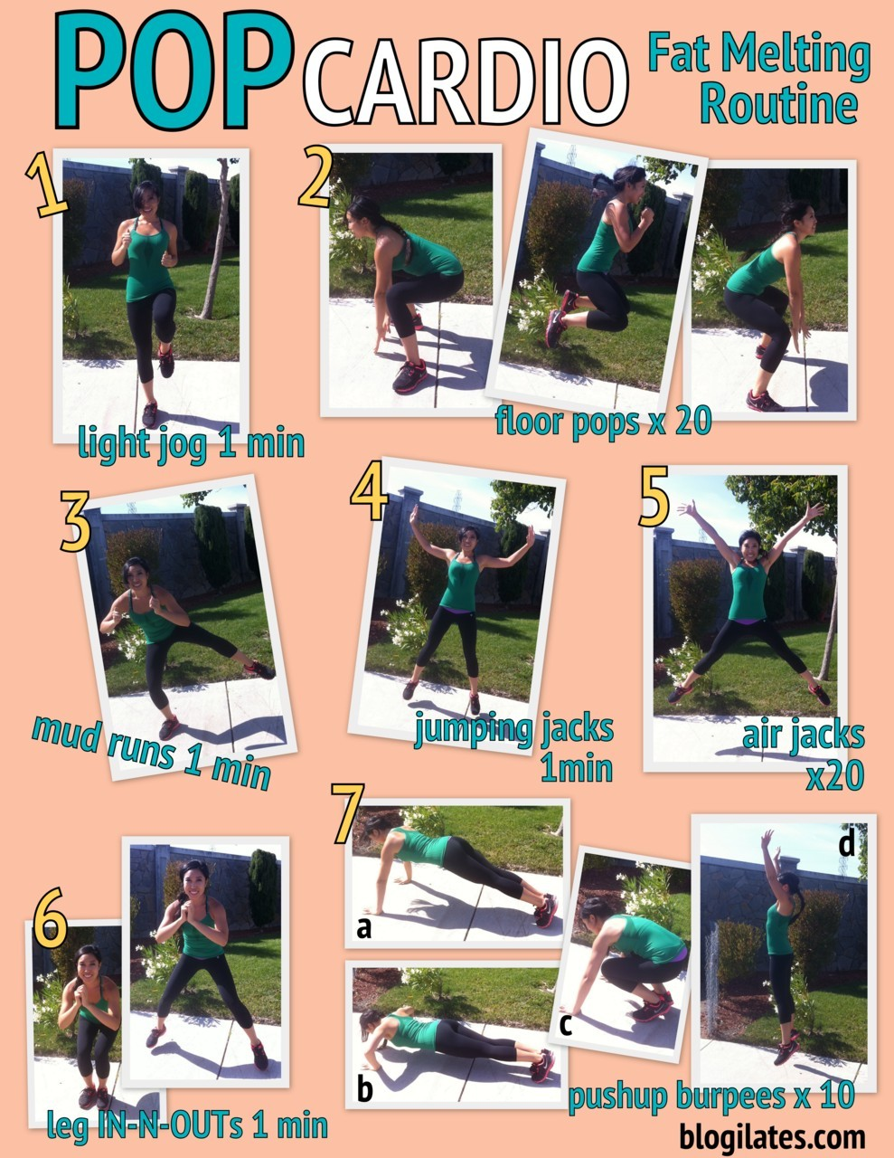 POP CARDIO: Fat Melting Routine PRINTABLE!!! If you want to do this with someone, do it with me! Have fun! Repeat 4x for a full workout. You can calculate how many calories you burned with tools from MyFitnessPal, MyNetDiary, or LoseIt.