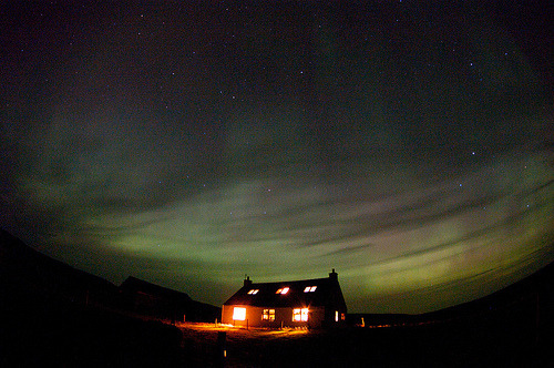 Aurora from Fair Isle, Scotland (by dawadderman)
