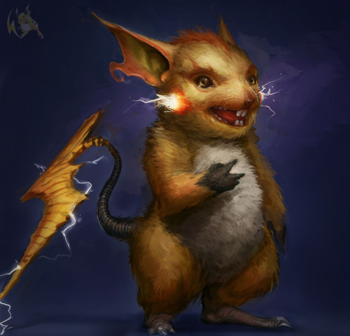 justinrampage:  Gavin Mackey took his old version of the crazy Pokemon rat Raichu and gave him a much needed update. Related Rampages: Gengar | Raticate (More) Raichu by Gavin Mackey / SoupAndButter