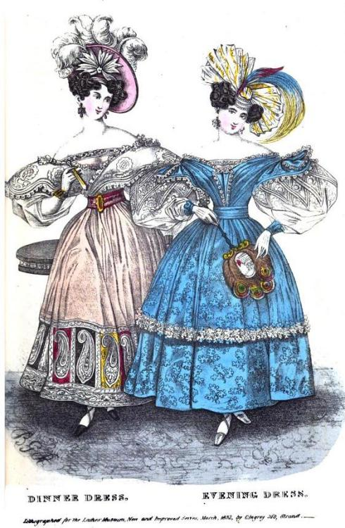 Lady's Museum, Dinner and Evening Dress, March 1832.  I am really digging the hem treatment on the peachy dress.  It looks like a stained glass window or something!  Very unexpected!
