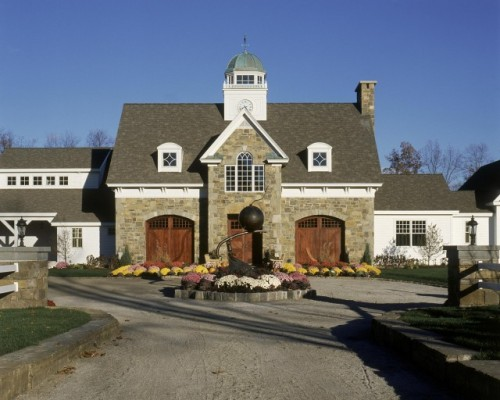"French Country inspired ""barn"" style home (via 2003 showcase - traditional - exterior - other metros)"