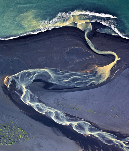 weandthecolor:  Volcano in Iceland a projection in the river Aerial photography by Andre Ermolaev. More photography inspiration. posted byW.A.T.C. // Facebook // Twitter // Google+
