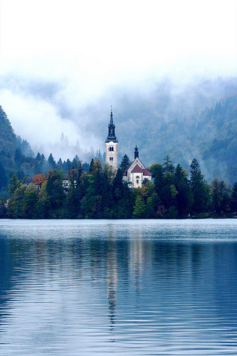 | ♕ |  Lake Bled, Slovenia  | by scotcrow | via All things Europe