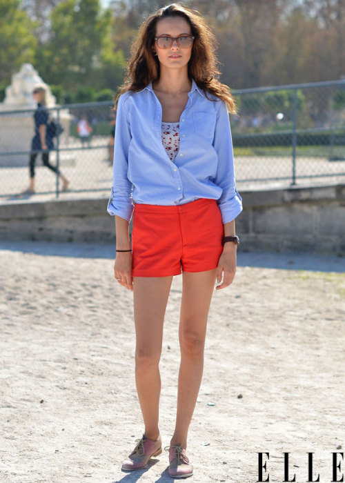 Street Chic: Paris Shorts are proving a solid fall staple on the streets during Paris Fashion Week. Photo: Courtney D'Alesio