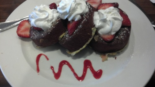 cream cheese stuffed red velvet french toast