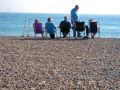 So as the heat-wave continues, here is a photo Worthing beach today. We may technically only be a few train stops away from Brighton but we certainly 'attract' a different type of clientele (bless them).