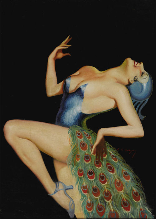 """Pretty as a Peacock"" by Earle K. Bergey c. 1935"