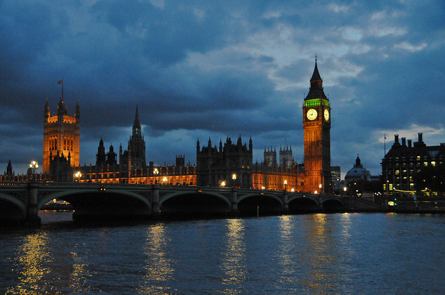 ellieintheskywithdiamonds:  Night Lights along the River Thames with the Houses of Parliament and Big Ben at Westminster Palace London England by mbell1975 on Flickr.