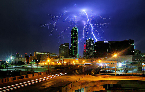 Lightning Over Dallas by the urban fabric (aka Justin Terveen)  Dallas Observer:  The light show arrived well before last night's rains showed up and stuck around long after they'd headed south — enough time for our old friend Justin Terveen, who makes this city look beautiful, to snap this photo of the skyline, now partially obscured by the soon-to-open Omni Hotel. One in a series, including the Statler Hilton, the Margaret Hunt Hill Bridge and Fair Park.