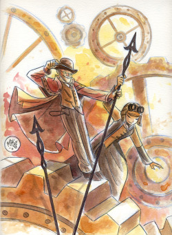 "One last watercolor commission for the week. A steampunk one. For a couple's alter-egos, Chief Inspector Erasmus L. Drake and Dr. ""Sparky"" L. McTrowell."
