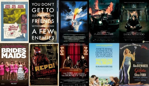 Top 10 Films from September, 2011 (Excluding re-watched films) Total watched this month: 16 (12 new) A Touch of Larceny 5/5 The Social Network 5/5 Superman 4/5 The Girl Who Played With Fire 3.5/5 The Girl With The Dragon Tattoo 3/5 Bridesmaids 3/5 Repo! The Genetic Opera 3/5 The Girl Who Kicked The Hornet's Nest 2.5/5 The Kids Are All Right 2.5/5 Gilda 2/5
