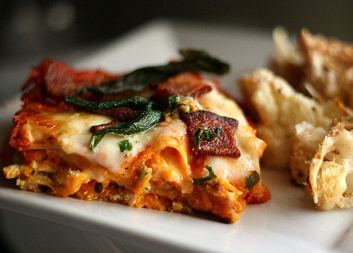 e-pic:  Roasted Butternut Squash Lasagna with Goat Cheese, Bacon, and Fried Sage