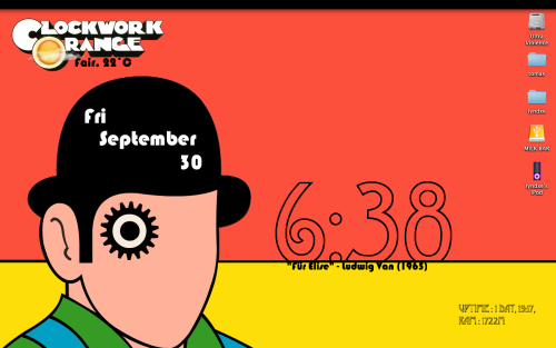 "My GeekTool Desktop [Screenshot] I created this Clockwork Orange themed desktop using GeekTool, an awesome application from the app store. Date, time, uptime, current ram usage, iTunes ""now playing,"" current weather icon + weather text, and several layers of images are all script elements that I chose to incorporate."