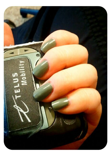 NOTD: Essie in Sew Psyched, a greenish-grey perfect for Fall! and the code pager at work :P