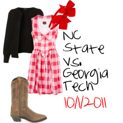 NC State vs. Georgia Tech by x333kelly featuring a knit cardigan