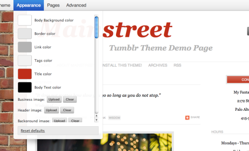 Check out our new & improved Mainstreet theme! Now you can: Add an image or text as the blog title Change the text, link, title and border color Not deal with a few minor bugs, which we've fixed! Preview and install it here.