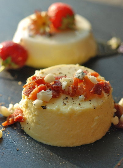 Sweet Corn Panna Cotta with  Bacon & Blue Cheese