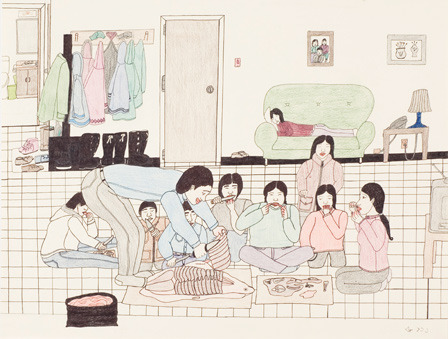 "Annie Pootoogook,  Eating Seal at Home, 2001 Annie Pootoogook took the Canadian art world by storm when she arrived on the scene with her drawings of daily life in Cape Dorset, a community also known by its Inuktitut name, Kinngait… She [is] the poster child for a new spirit of art from Canada's north and for the expansion of international connections for contemporary Canadian artists. -Richard Rhodes, ""Annie Pootoogook: Spirit with Flowers,"" Canadian Art (online)"