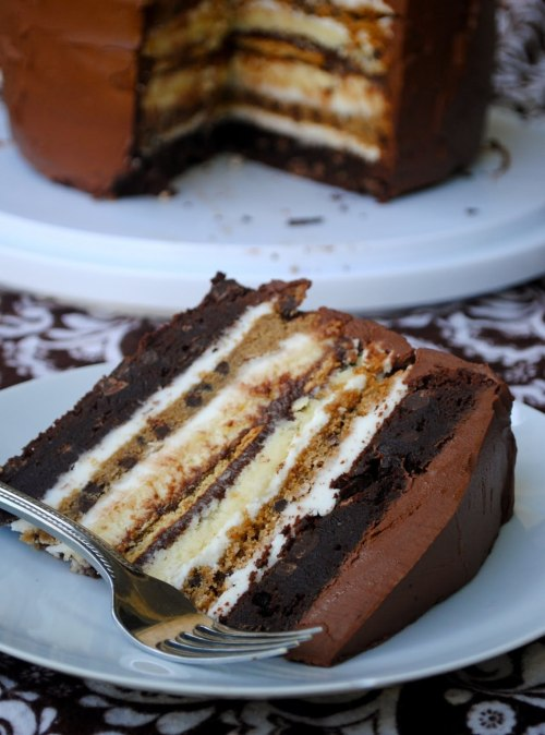 gastrogirl:  s'mores cheesecake, brownie, and chocolate chip cookie layer cake.