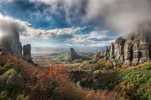 theworldwelivein: The Valley Of Fog - HDR | Meteora, Greece ©  blame_the_monkey