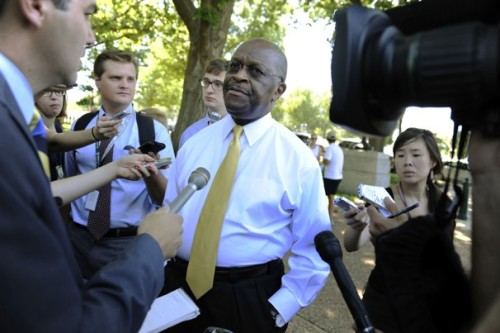 "A new Fox News Poll shows Herman Cain has jumped to third place behind GOP candidates Mitt Romney and Rick Perry. How long will this streak last? ""So now comes a candidate with an actual ""plan"" to accomplish this purpose—with the added bonus that he happens to be an African-American, providing protection against liberal suspicions that conservatives are turning the working poor into the ""welfare queens"" of the 21st century."" -Ed Kilgore. ""The Secret Behind Herman Cain's Success."" Also, check out Simon van Zuylen-Wood's review of Cain's autobiography in ""How Herman Cain's New Book Explains His Success."" Courtesy of Fox News."