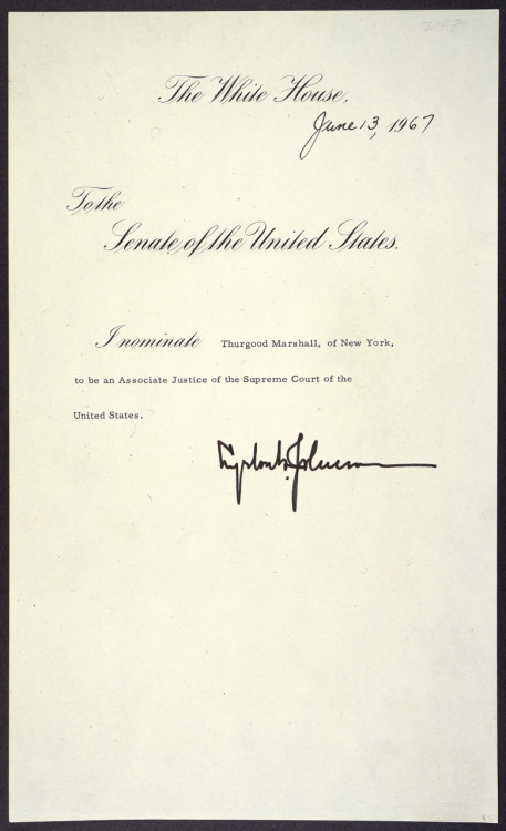 ourpresidents:  Thurgood Marshall is sworn in as a Supreme Court Justice, the first African-American to do so.  October 2, 1967. Here is the message of President Johnson nominating Marshall to be an Associate Justice of the Supreme Court. More - Thurgood Marshall  Tomorrow: retired Justice John Paul Stevens