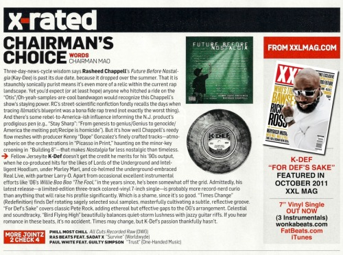 "K-Def's ""For Def's Sake"" 7"" single was reviewed in the October 2011 of XXL Mag (Chairman's Choice column). http://soundcloud.com/redef/k-def-for-defs-sake While on the subject of K-Def & XXL, check out this interesting, production focused interview from a few years back: http://www.xxlmag.com/bloggers/2009/03/k-def-talks-shop-various-equipment-used-through-the-years-mentions-experiences-from-marleys-house-of-hits/ Thanks again to everyone for supporting Redefinition Records."