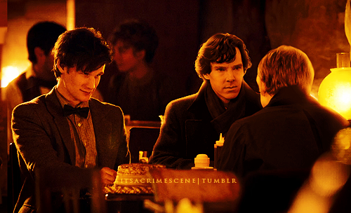 itsacrimescene:  Not a date.  Eleven and Watson, working on a case. The bad guy's in trouble. LOL
