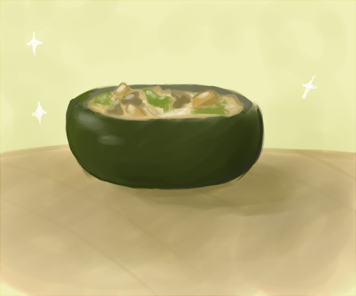 Drawing Challenge Day 3: your favorite food. (which mine is the orzo stir fry I make)