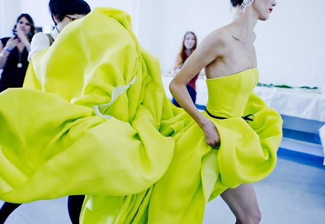 couturecourier:  Backstage at Jason Wu Spring 2012, NYFW  - NEON!!! (via Vogue, Beautylish)