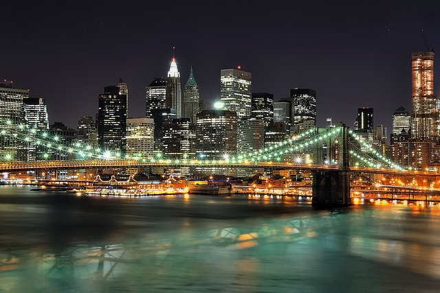 Lower Manhattan at Night from the Manhattan Bridge, NYC II by andrew c mace on Flickr.