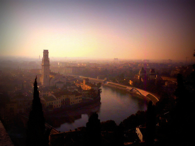 | ♕ |  Verona afterglow from Castel San Pietro  | by © [D]Andy | via ysvoice