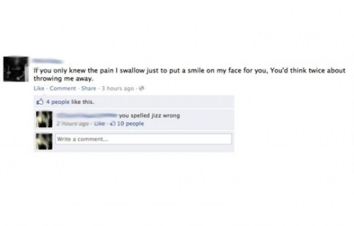 Facebook status reveals the pain she's endured - if he only knew! Source: HappyPlace Original Article