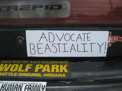 Have you ever seen a car with so many bumper stickers involving animals that it's creepy?  You know what they really want legalized and it's not just exotic pet licenses… (3 points)