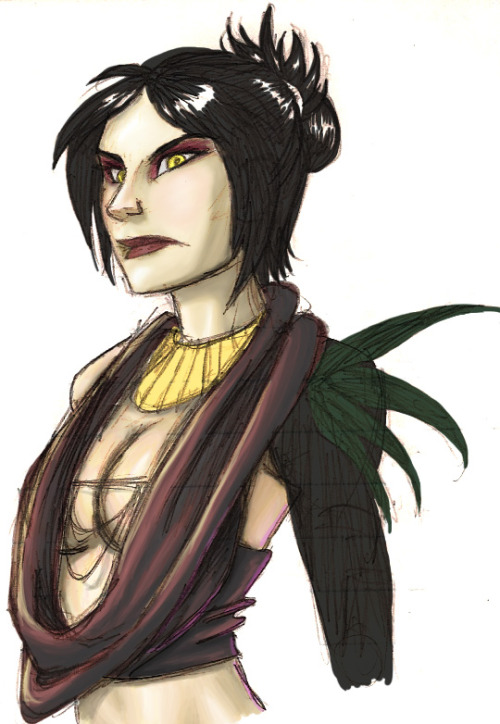 sketchdumpsgalore:  I don't think I can finish coloring this for Morrigan Week. =(  Originally I was just going to upload the sketch but it kinda got out of control.  So out of control that I couldn't even finish it! Anyway, I hope to have the finished one up on Deviant art at some point so stick around! I know I didn't get her costume 100% accurate.  This was done without a reference.