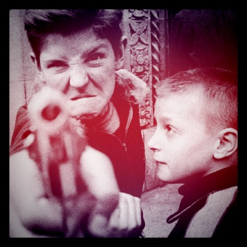 William Klein - Gun 1, New York, 1955. Modified using instagram. View original version here.