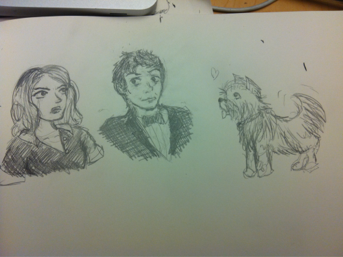 "Fanart Friday part 1 Rose and the Doctor in their caterer outfits and yorkie!Rose from ""Rise of the Cybermen"" because the Doctor Who Tumblr posted this gif:  I swear I used to be able to draw Ten but apparently I can't tonight OH WELL MOVING ON"