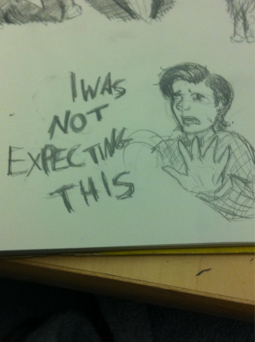 "Fanart Friday part 2 Now here's Eleven who was NOT EXPECTING THIS (from ""The Lodger"") from that same gifdump by the Doctor Who Tumblr. But now I am moving on to a different post."