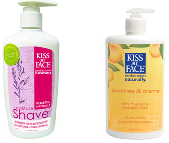Company: Kiss My FaceProducts: Peaches & Creme Ultra Moisturizer and Peaceful Patchouli Moisture Shave Verdict: 5/5 doesn't describe how much I loved these products Finding products that not only agree with my ridiculously sensitive skin, but also happen to smell delicious, feel luxurious, and are generally down right amazing almost seems like a fairy-tale dream. But after discovering Kiss My Face, my dreams have definitely come true! Ever since I started shaving my legs (we won't mention how old I was…) I've had terrible problems with angry razor burn bumps taking over my legs.  Believe me when I say I've tried all there is to try, expensive razors, cheap as dirt razors, creams, gels, exfoliators- you name it I've tried it. Life was grim in those days- that is until I tried Kiss My Face's Peaceful Patchouli Moisture Shave. The moment I tried this product I swear the light shone down on me- we were meant to be. I used about a toonie sized amount of the product for each leg, which was definitely more then enough to give a rich and creamy lather. (The light scent of patchouli was enough to make me swoon!) After I shaved, rinsed, and dried I could already tell that my legs felt hydrated and smooth- not patchy and dry like the usual! And best of all, after less than a week's use, my razor burn was history!!  After drying off I grabbed the Kiss My Face Peaches & Creme Ultra Moisturizer and applied it everywhere. Be forewarned- once you apply this you cannot stop! It's so hard for me to describe the beyond delicious smell of this, I feel like I could start hyperventilating. A sweet blend of peaches & creme combine together to give you the sugar rush you want (need) without the added guilt!  Not to mention it's extremely moisturizing abilities- it doesn't glop on and feel greasy and 'thick' like most 'ultra-moisturizers' do. And to tie it all in it has such a delicate, creamy texture I feel luxurious as soon as I smooth it on my skin. All in all-I'm extremely impressed with Kiss My Face products and I can be sure there will be several more reviews to come! So as I'm sure you've guessed- I HIGHLY, HIGHLY recommend both the Ultra Shave Moisturizer and the Peaches & Cream Ultra Moisturizer. You can find both products, and many more amazing ones, on Kiss My Face's website and most drug stores and health stores as well! (Might I add- each of their products come in several different scents- GO WILD!)  The Lowdown; Pros: It helps destroy my nemesis- razor burn  Extremely moisturizing without feeling greasy Great for sensitive skin The smells are heavenly  All of the products are affordable There are no parabens or artificial colors NO animal ingredients And they do absolutely NO animal testing!  Cons As I'm sure you've guessed, I have zero complaints about either of these products!  www.kissmyface.com