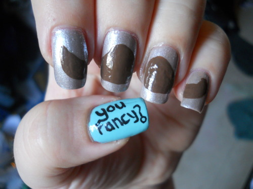 Nail Art Challenge Design 14: Mustache Colors Used: Milani- Bear To Wear China Glaze- For Audrey Sinful Colors- Out Of This World Acrylic pants in brown, black, and white
