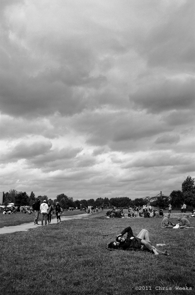 Berlin, Germany:  July, 2011.  Another beautiful Berlin summer day. ;)  Leica MP.  35 'lux.  Lab scan »> Aperture.  (Tri-X during the night and Agfa APX 25 with ND during the day but not exact)