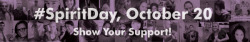 "spiritday:  Millions of Americans wear purple on Spirit Day as a sign of support for lesbian, gay, bisexual and transgender (LGBT) youth and to speak out against bullying. Spirit Day was started in 2010 by teenager Brittany McMillan as a response to the young people who had taken their own lives. Observed annually on October 20, individuals, schools, organizations, corporations, media professionals and celebrities wear purple, which symbolizes spirit on the rainbow flag. Getting involved is easy — participants are asked to simply ""go purple"" on October 20 as we work to create a world in which LGBT teens are celebrated and accepted for who they are. How can I participate in #SpiritDay? PLEDGE! First, sign the pledge to go purple! RSVP on the Spirit Day Facebook event page and invite your friends! GO PURPLE! Then, wear purple on October 20!"